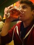 Nick enjoying his Farm Hand beer from Brewery Vivant.